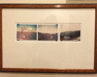 Polaroid transfer triptych - Skyline Drive framed in a recycled wood detail frame