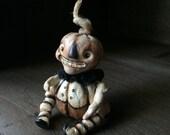 Halloween Pocket Pumpkin Jointed Figure Brown Tones