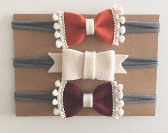 Fall Felt Bow Nylon Headbands with Pom Pom trim - set of 3