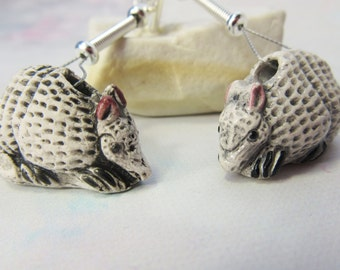 Armadillo Earrings - Armadillo jewelry -  funky fun and silly - gag gift - kitch earrings - cue animal earrings