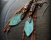 rustic, Tribal, Verdigris, Leaves, Copper, Leather, Fringe, Chain, South West, Beaded Earrings
