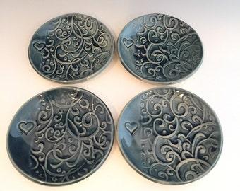 Ceramic Ring Dish -  Ring Holder - Blue Ring Dish - Trinket Dish - Spoon Rest - Dish -Tea Bag Rest - Jewelry Bowl - Ceramic Ring Dish