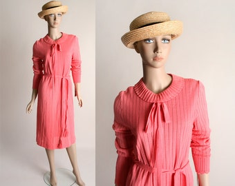 Vintage 1970s Knit Dress - Salmon Pink Loose Fit Slouchy Sailor Style Dress - Medium