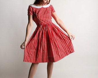 ON SALE Vintage 1960s Lanz Dress - Cherry Red Floral Striped Print Day Dress - XS X-small