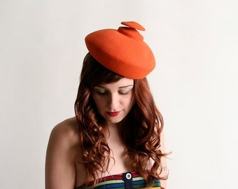 ON SALE Vintage 1960s Hat - I. Magnin Bright Tangerine Orange Avant Garde Hat