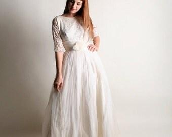 ON SALE Vintage 1960s Wedding Dress - Snow White Chiffon Lace Gown - Small Medium