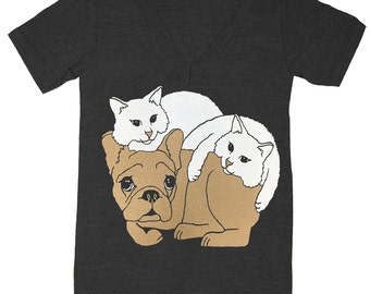 Dog & Cats - V-neck T-Shirt Tee Shirt Cute Frenchie Kitten French Bulldog Kitty FrenchBulldog Best Friends Pet Pals Cuddle Puddle Tshirt