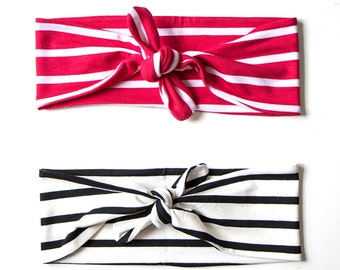 Tie Up Headscarf // Wide Spaced Stripe // Black and White // Red and White