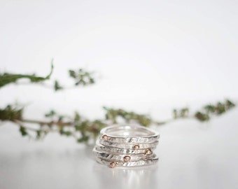 Hjartagull - Hammered Silver and Gold Ring - Stacking Ring