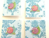 Glittery Snail Mini Cards - Set of 4 Cards