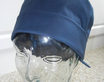 Fold Up Surgical Scrub Hat in Solid Navy Blue