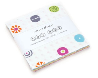 25% off Precuts SALE fabric, Hey Dot Charm Pack, Polka dot, Zen Chic by Moda, 5 inch squares of Entire Line, Quilting squares, Charm Squares