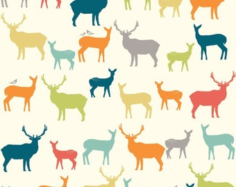 SALE ORGANIC fabric, KNIT fabric, Elk Family by Birch Fabrics- Nursery fabric, Crib fabric, Stretch fabric, Animal fabric, Choose your cut