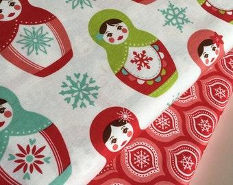 SALE fabric, Christmas fabric, Matryoshka fabric bundle, Holiday fabric, Christmas, Fabric by the Yard- Fabric Bundle of 2, Choose The Cuts
