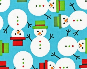 SALE fabric, Christmas Fabric by Ann Kelle, Robert Kaufman- Jingle Snowman in Aqua, Aqua fabric, Fabric by the Yard, Free Shipping Available
