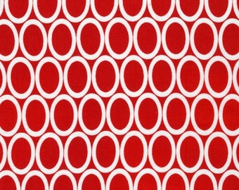 Remix Fabric, Polka Dot fabric, Cotton Fabric, Red Fabric by Ann Kelle- Remix Ovals in Red. You Choose the Cut. Free Shipping Available