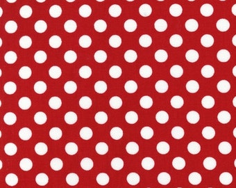 Red and White Fabric, Christmas Fabric by Ann Kelle, Fabric Shoppe- Medium Dot in Red. Fat Quarter to Yardage. Free Shipping Available