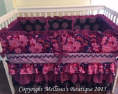Custom 3 Tier Ruffled Shades of Purple Boutique Complete Crib Bedding Set CUSTOMIZE YOUR OWN