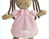 """Personalized Cloth Baby Doll, First Doll, 10"""" Rag Doll, Shower Gift, Toddler Doll, Princess Doll, Brunette Doll, Cloth Doll, Tan Skin, Safe"""