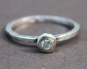 Vintage Silpada Oxidized Matte Hammered Sterling Silver Cubic Zirconia Thin Band Sz 7 Stackable Ring R1659