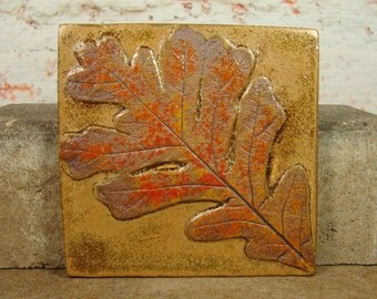 Ceramic Tile with Oak Leaf - 4 Inch - Stoneware - Treehugger Series