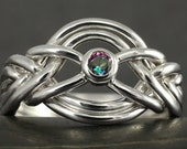 Six band puzzle ring with alexandrite mystic topaz in sterling silver