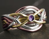 Solid gold 6 band puzzle ring with amethyst cabochon - 10kt 14kt 18kt