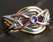 Solid gold 6 band puzzle ring with natural iolite cabochon - white gold, rose gold, yellow gold, 10kt, 14kt, 18kt