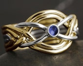 Natural sapphire 6 band puzzle ring in solid gold