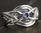 Sapphire cabochon handmade 6 band puzzle ring in sterling silver