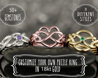 Personalize your own puzzle ring in 18kt gold - More options available