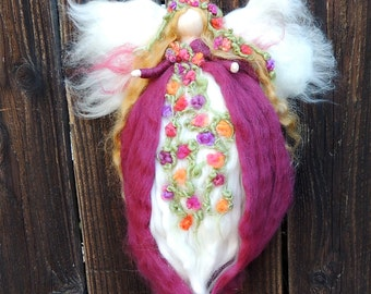 Ethereal Floral Garden Fariy -  Needle felted wool fairy angel Waldorf inspired creation by Rebecca Varon aka Nushkie