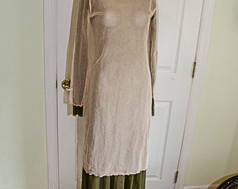 Peach and Olive Two Layer Sheer Mesh Dress
