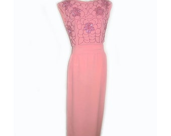 Vintage 60's Pink Sequin Bombshell Suzy Perette Dress Gown