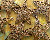 Filigree Star Charms - 4 pcs - Hand Antiqued Domed Filigree Stars - Celestial Charms - Patina Queen