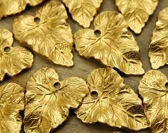 Small Leaf Charms - 12 pcs - Yellow Brass - Fall Charms - Patina Queen - Raw By the Dozen