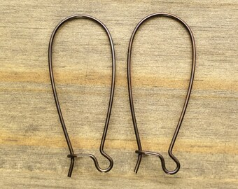 Brass Kidney Earwires 35mm  - 12 PAIRS - Hand Antiqued Brass - Patina Queen