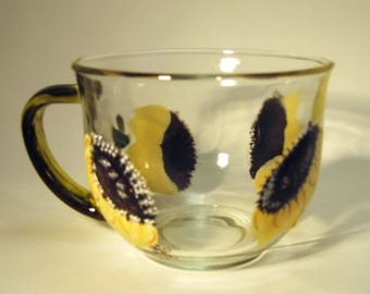 Hand Painted Sunflower Tea Cup