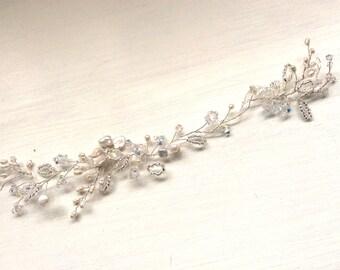 Bridal headpiece, Bridal Hair Accessories, wedding accessories, Wedding headwear, Handmade freshwater pearl seed bead silver bridal hairvine