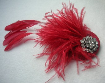 New handmade Pillar box red feather fascinator Christmas colours