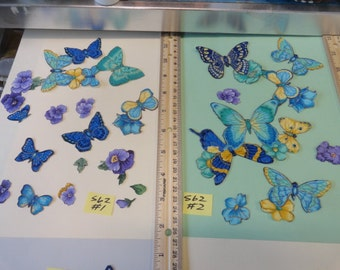 Butterflies and Flowers, Beautiful and Colorful Cloth Cut Outs S 62