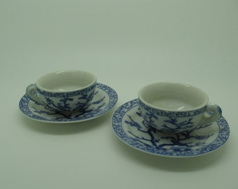 Set 2 Doll Teacup and Saucer Asian Blue White