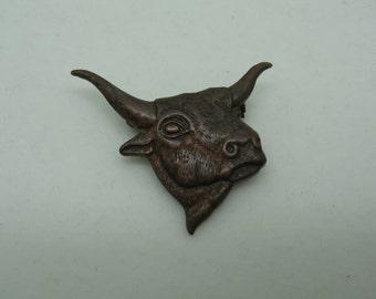Bust or Head of Steer or Bull Pin Brooch
