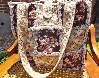 Rag Tote - Brown and Pink Floral Rag Quilt Tote - Handmade - Rag Quilt Handbag - Rag Bag