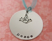 Hand Stamped Peace Christmas Ornament - ON SALE