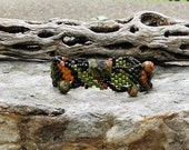 Jewelry - Free Form Peyote Stitch Beaded Bracelet  - Bead Weaving - Unakite-  BOHO