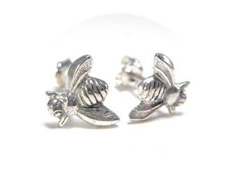 Silver Bumblebee Studs - Bumble Bee Post Earrings
