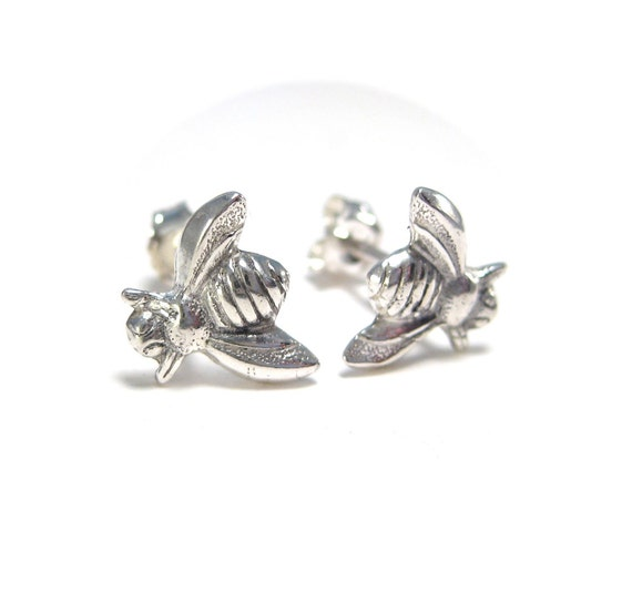 Silver Bumblebee Studs - Bumble Bee Post Earrings