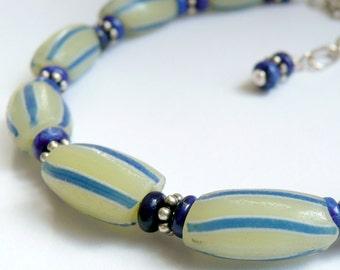 Handcrafted Artisan Yellow Blue Vintage African Chevron Trade Beads Lapis Sterling Silver Unisex Southwestern Tribal Boho OOAK Bracelet
