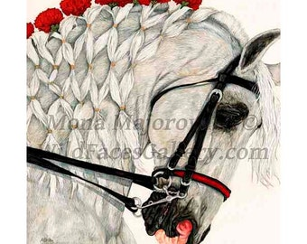 Horse art, Red Carnations - White Horse - signed horse print, horse painting, horse gifts, equestrian art, english pleasure, dressage horse